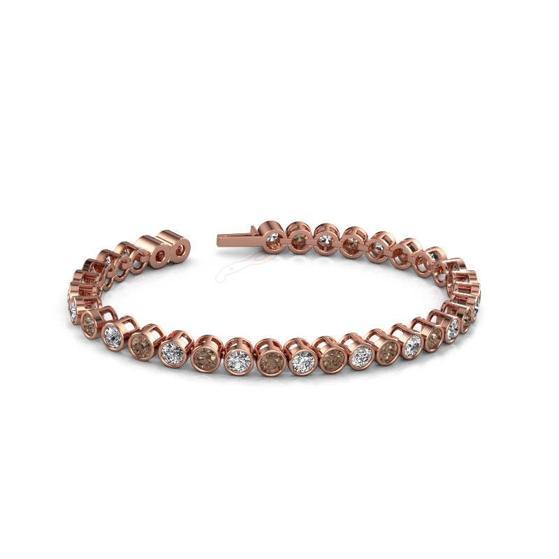 Tennisarmband Allegra 4 mm 375 rosé goud bruine diamant 9.50 crt