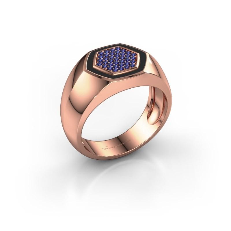 Heren ring Kris 375 rosé goud saffier 1.1 mm