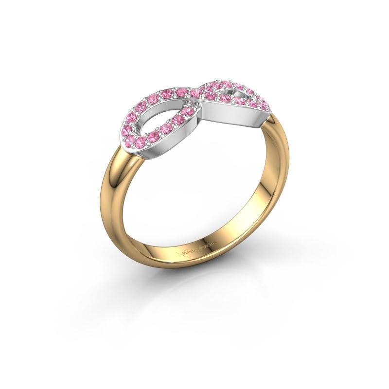 Ring Infinity 2 585 goud roze saffier 1.2 mm