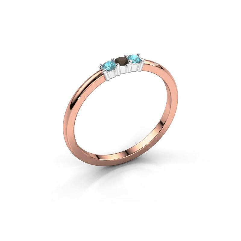 Verlovings ring Yasmin 3 585 rosé goud rookkwarts 2 mm