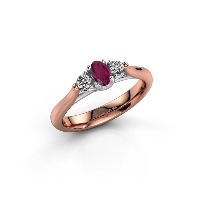 Verlovingsring Jente OVL 585 rosé goud rhodoliet 5x3 mm