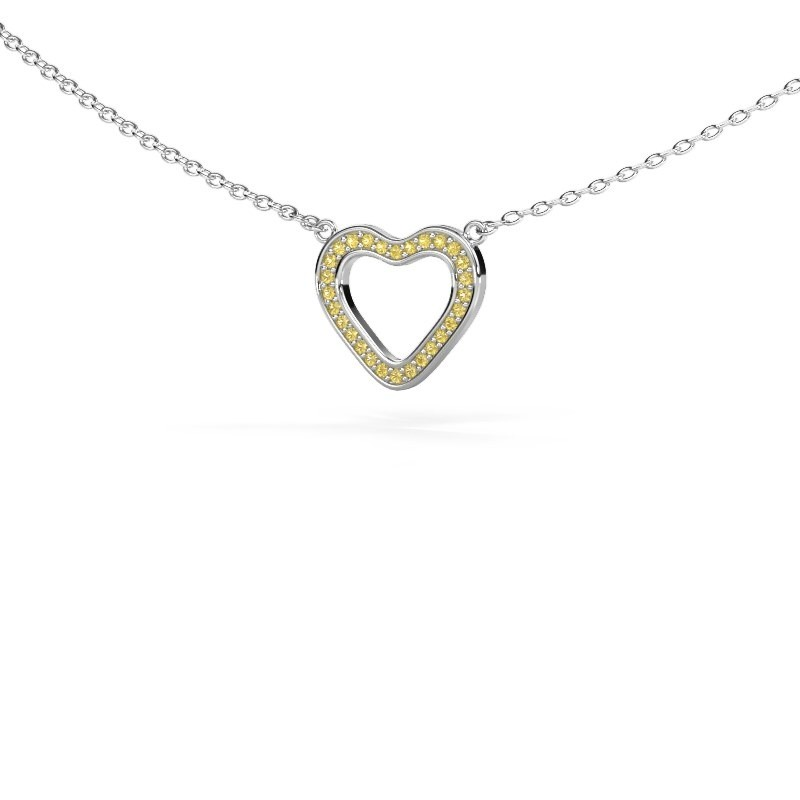 Pendant Heart 3 925 silver yellow sapphire 0.8 mm