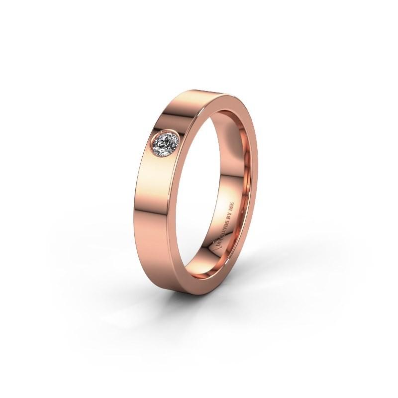 Huwelijksring WH0101L14BP 375 rosé goud diamant ±4x2 mm