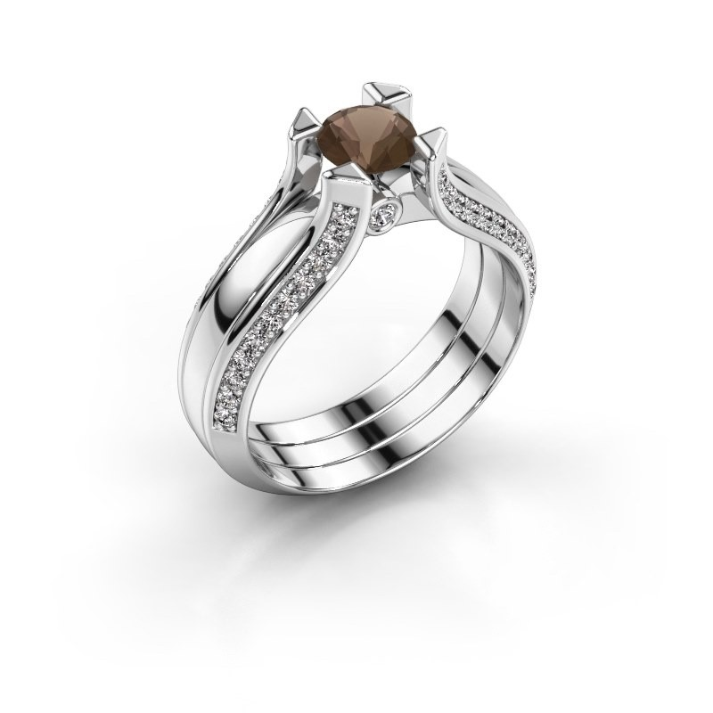 Engagement ring Nadine 925 silver smokey quartz 5 mm