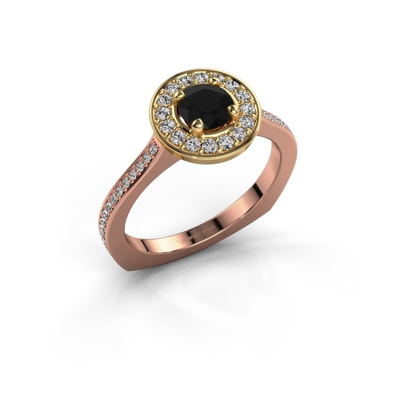 Ring Kanisha 2 585 rosé goud zwarte diamant 0.972 crt