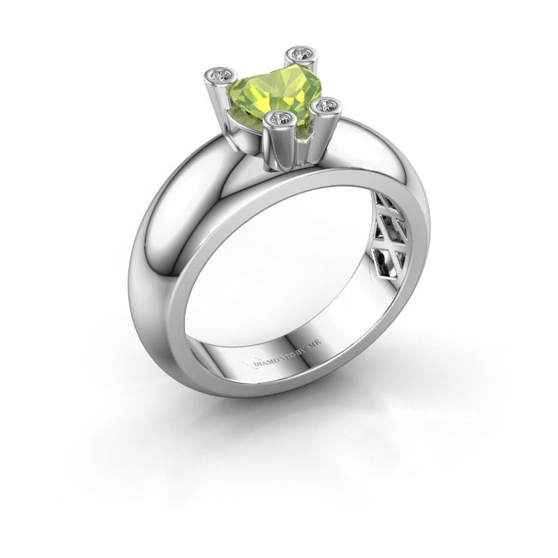 Ring Cornelia Heart 585 white gold peridot 6 mm