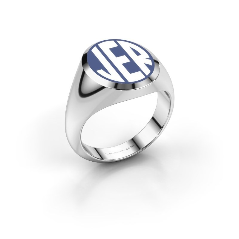 Monogram ring Paul emaille 375 witgoud