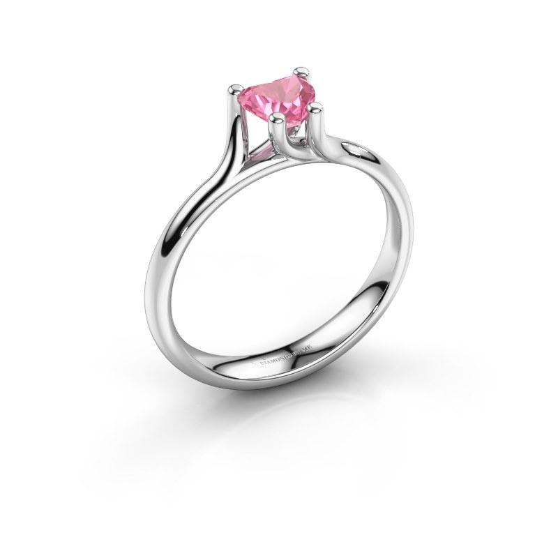 Engagement ring Dewi Heart 950 platinum pink sapphire 5 mm