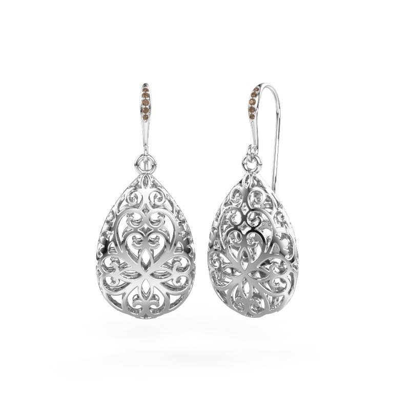 Oorhangers Idalia 1 375 witgoud bruine diamant 0.033 crt