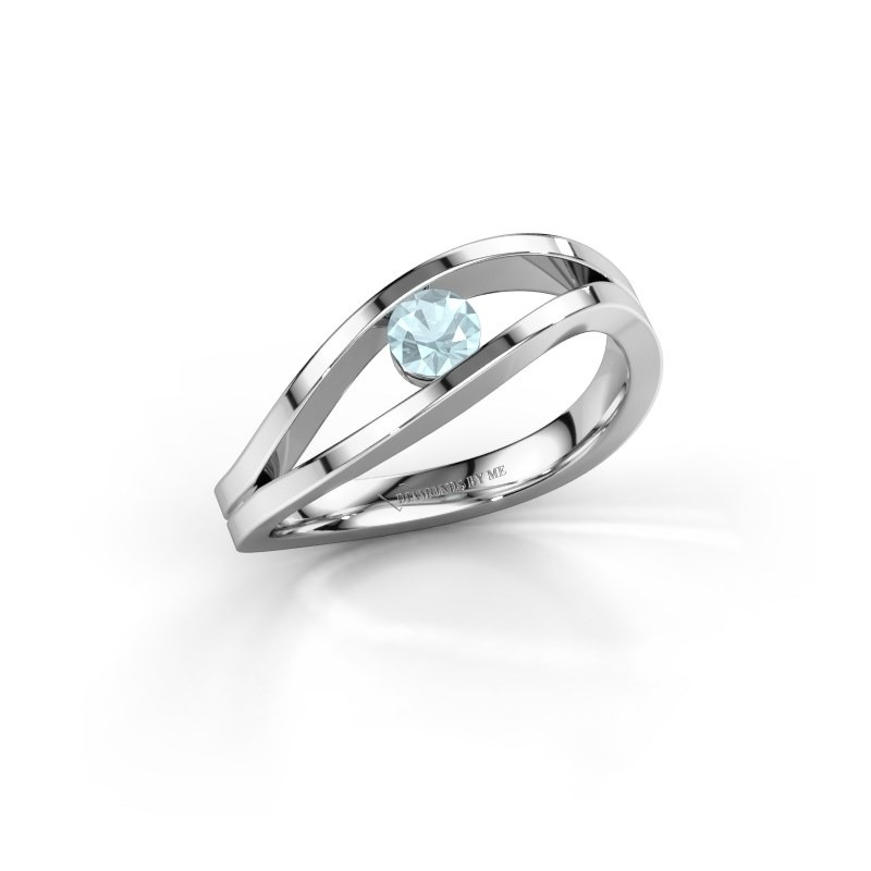 Engagement ring Sigrid 1 925 silver aquamarine 3.7 mm