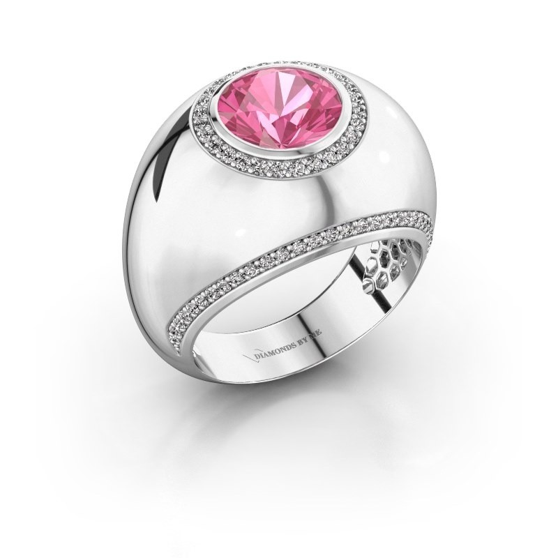 Ring Roxann 585 witgoud roze saffier 8 mm
