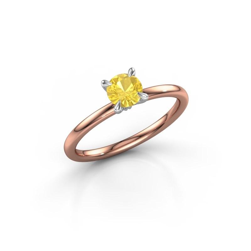Verlobungsring Crystal RND 1 585 Roségold Gelb Saphir 5 mm