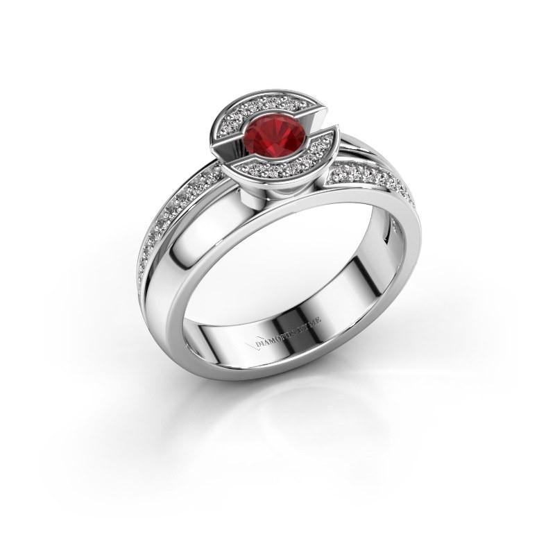 Ring Jeanet 2 925 zilver robijn 4 mm