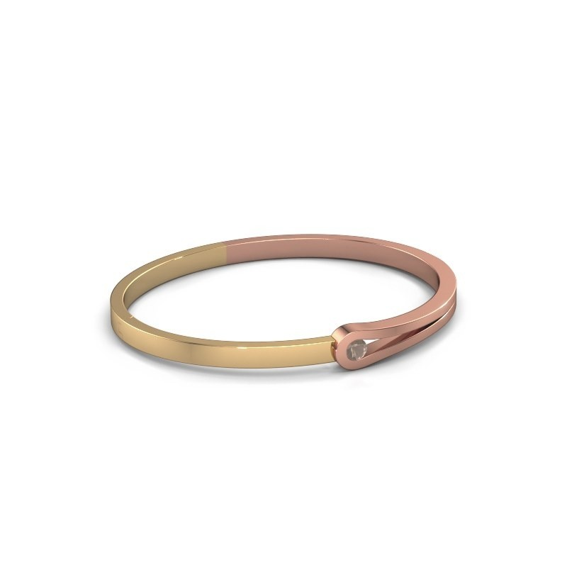 Bracelet jonc Kiki 585 or rose quartz fumé 4 mm