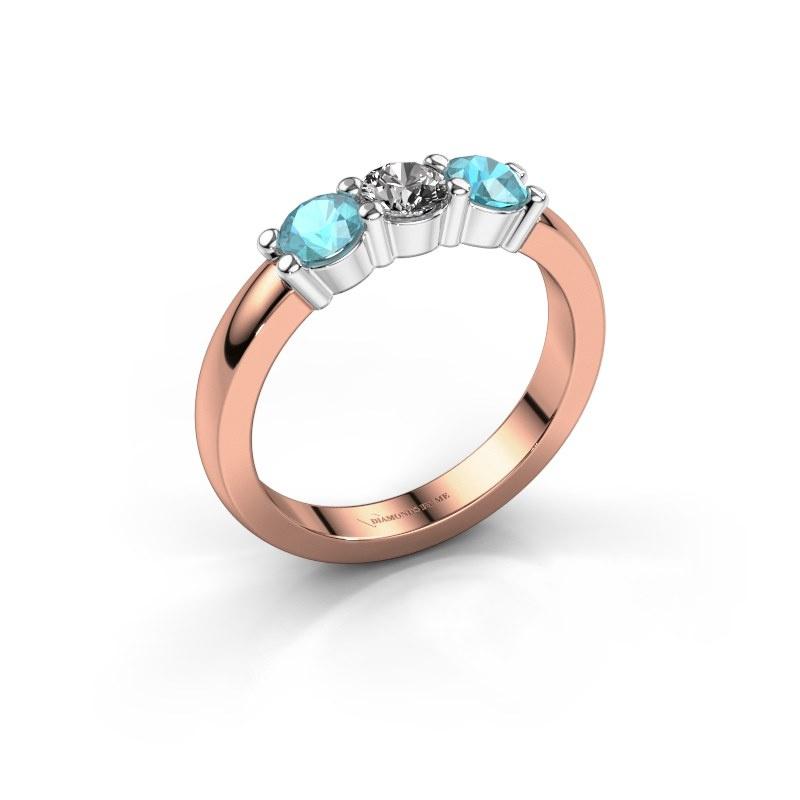 Verlovings ring Yasmin 3 585 rosé goud diamant 0.25 crt