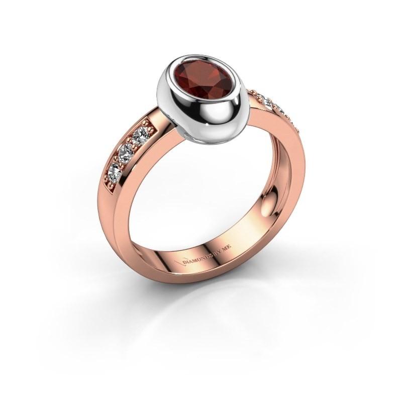 Ring Charlotte Oval 585 rose gold garnet 7x5 mm