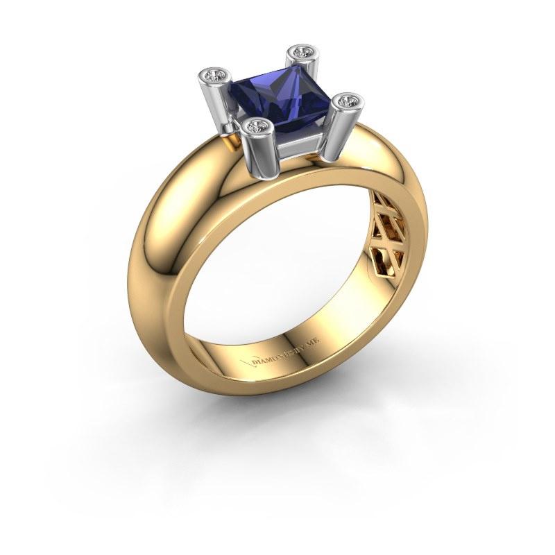 Ring Cornelia Square 585 gold sapphire 5 mm