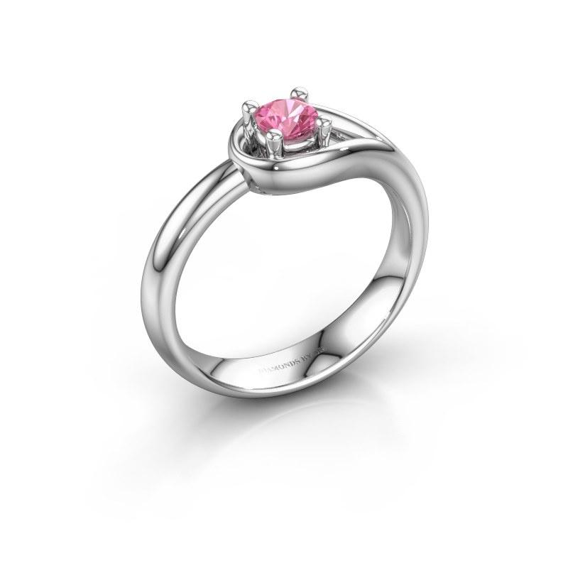 Ring Fabienne 925 zilver roze saffier 4 mm