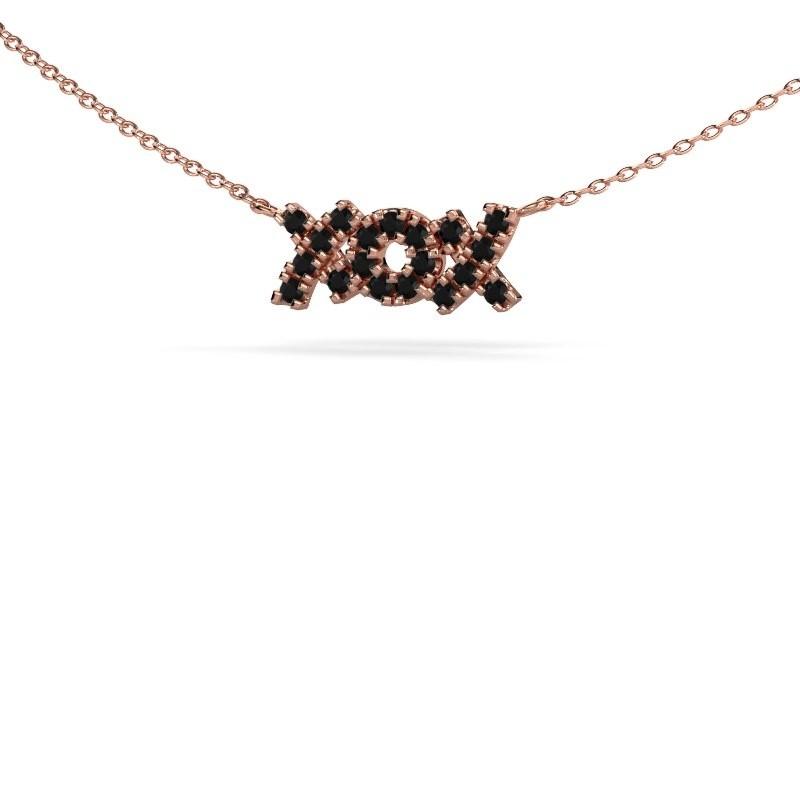 Ketting XoX 375 rosé goud zwarte diamant 0.342 crt