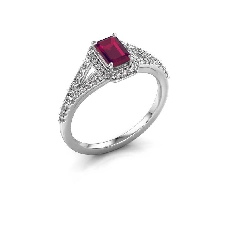 Engagement ring Pamela EME 925 silver rhodolite 6x4 mm