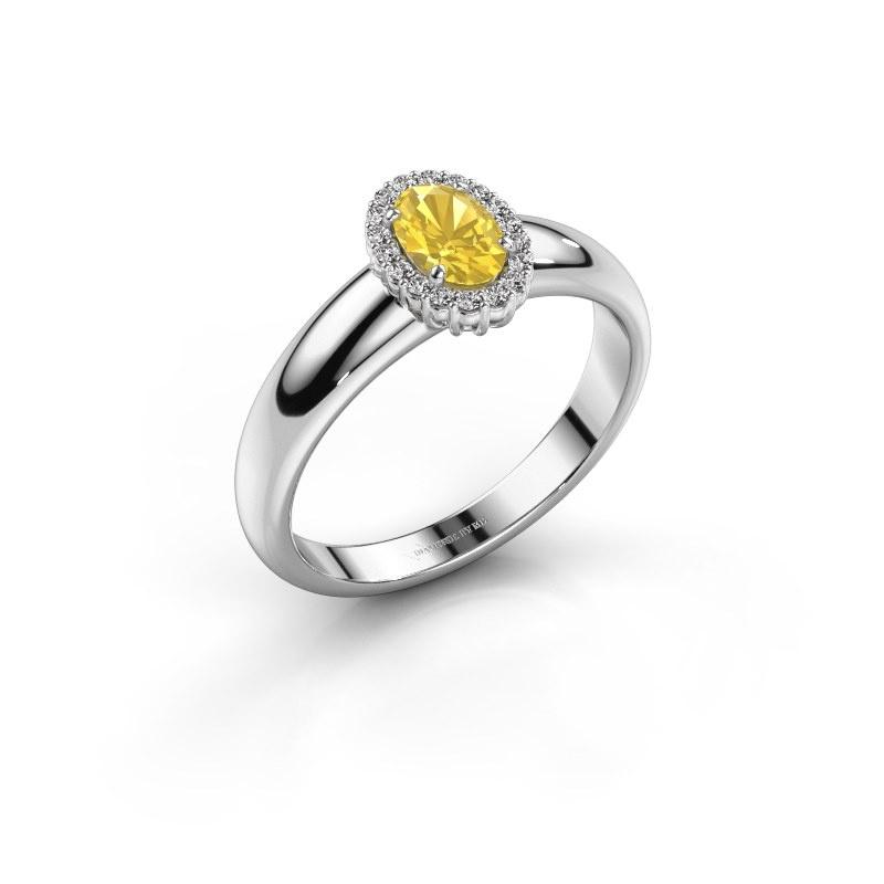 Verlobungsring Tamie 585 Weißgold Gelb Saphir 6x4 mm