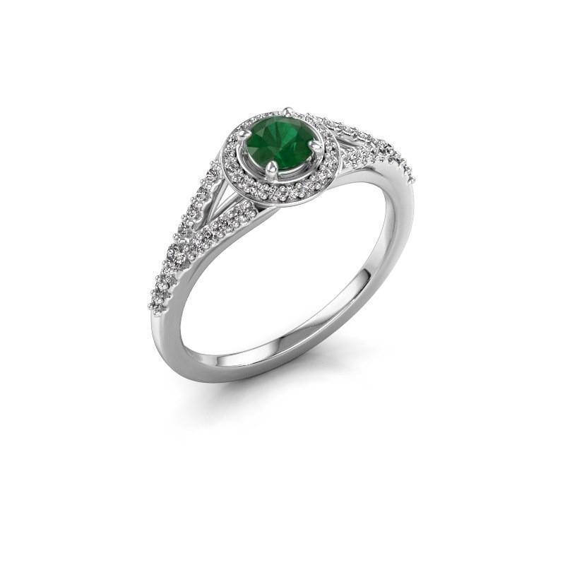 Verlovingsring Pamela RND 925 zilver smaragd 4 mm