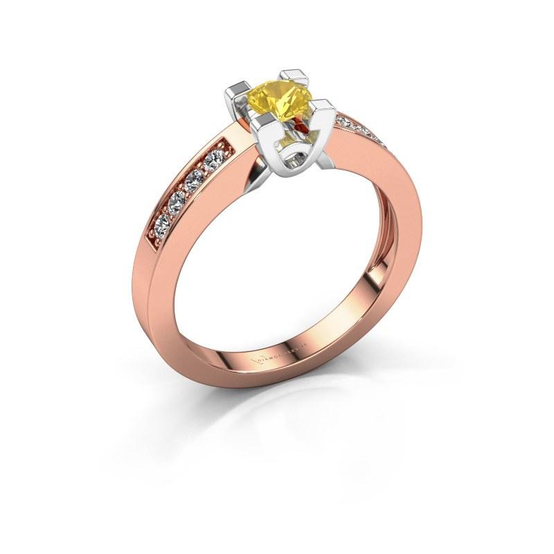 Verlovingsring Nina 2 585 rosé goud gele saffier 4.2 mm