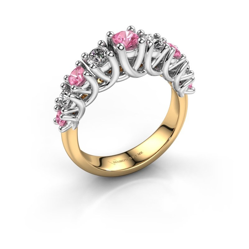 Verlovingsring Fatima 585 goud roze saffier 3.7 mm