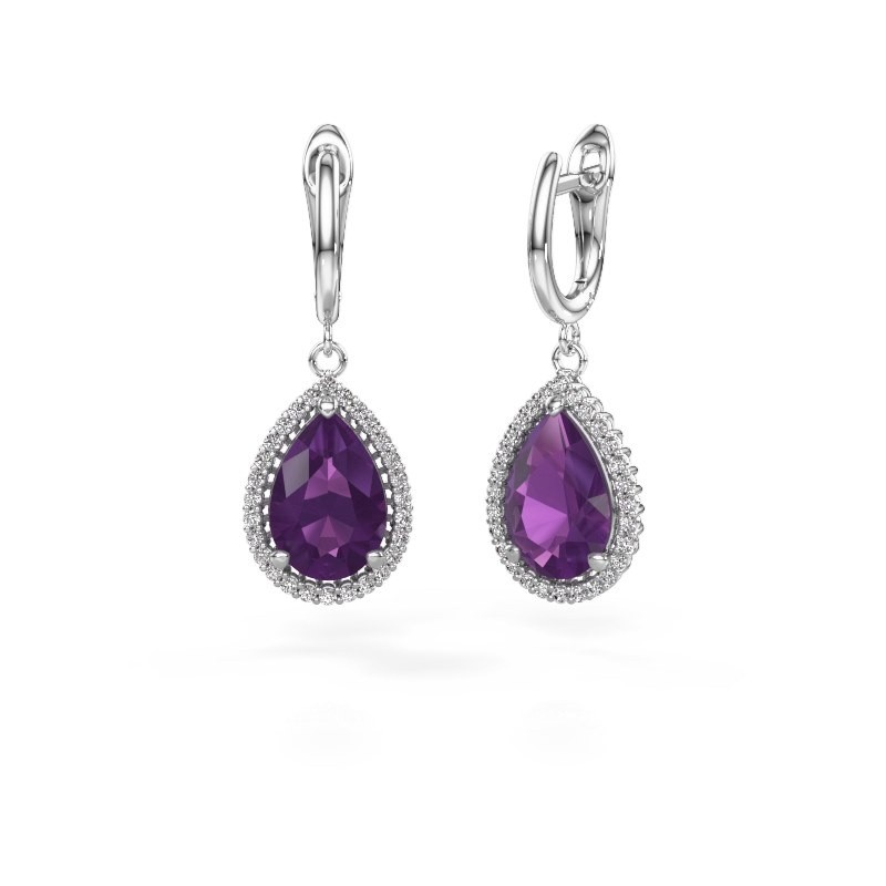 Drop earrings Tilly per 3 950 platinum amethyst 12x8 mm