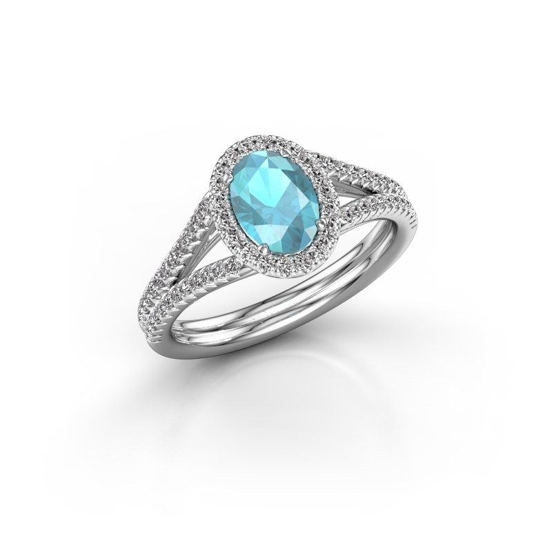 Engagement ring Rachele 2 585 white gold blue topaz 7x5 mm