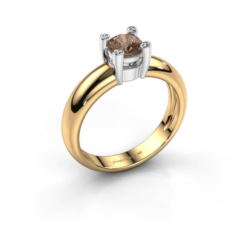 Ring Fleur 585 goud bruine diamant 0.42 crt