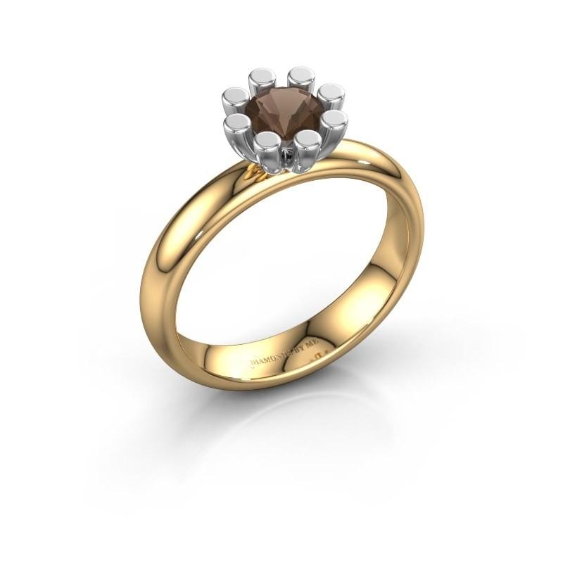 Stapelring Carola 1 585 goud rookkwarts 5 mm