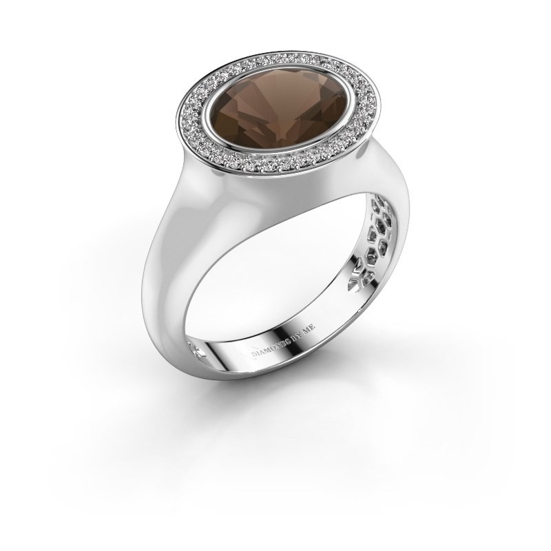 Ring Phebe 375 white gold smokey quartz 10x8 mm
