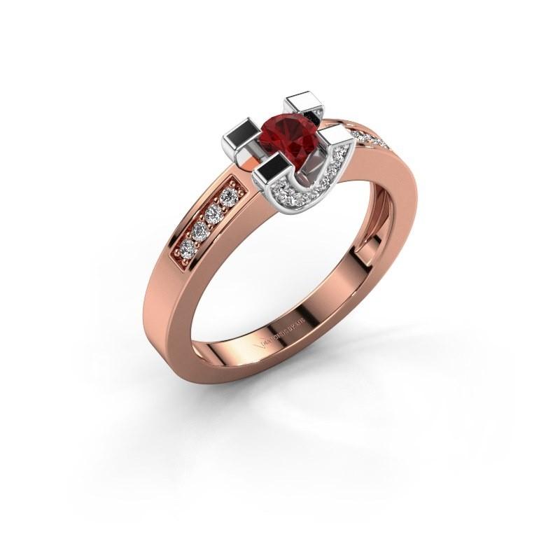 Verlovingsring Jasmijn 2 585 rosé goud robijn 4 mm