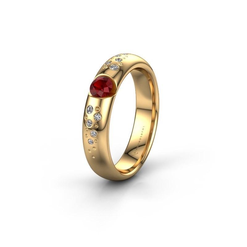 Trouwring WH2104L34A 375 goud robijn ±4x1.7 mm