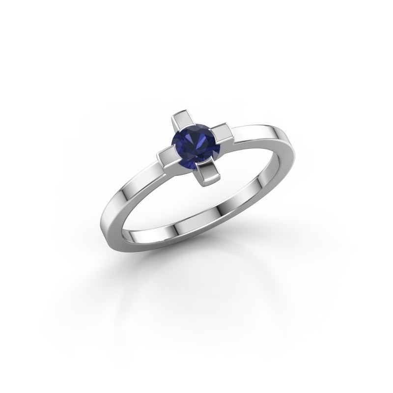 Ring Therese 585 witgoud saffier 4.2 mm