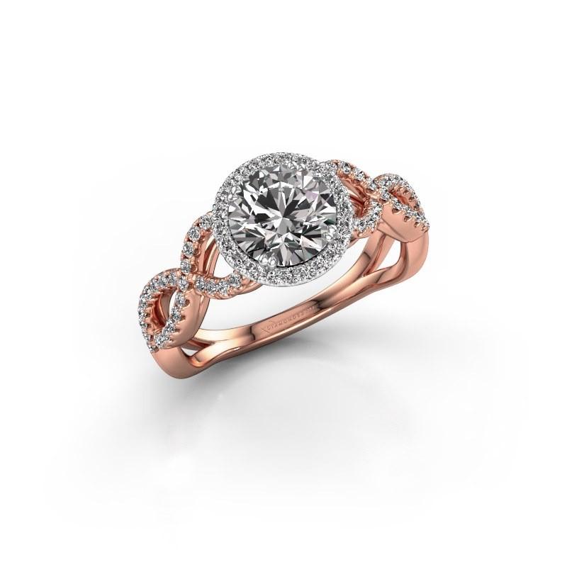 Engagement ring Dionne rnd 585 rose gold diamond 1.36 crt