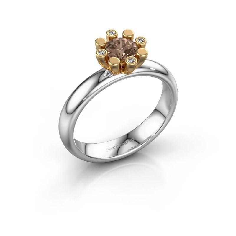 Stapelring Carola 2 585 witgoud bruine diamant 0.52 crt