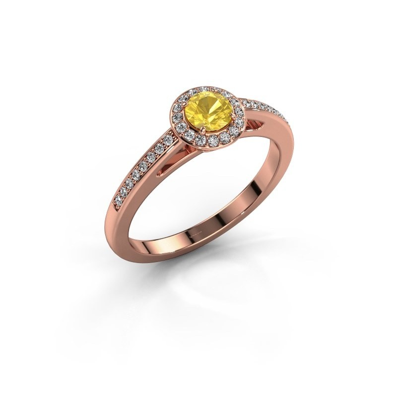 Engagement ring Aaf 375 rose gold yellow sapphire 4.2 mm