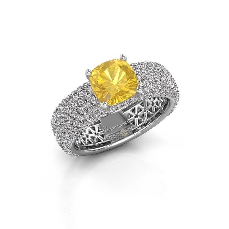 Engagement ring Darcy 585 white gold yellow sapphire 7 mm