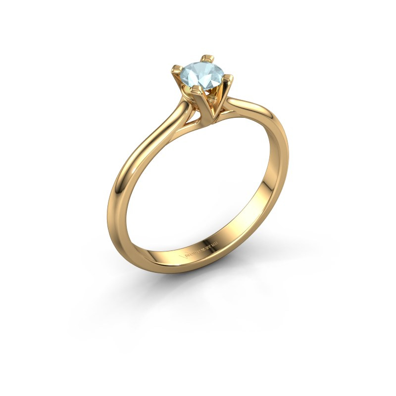 Verlovingsring Isa 1 585 goud aquamarijn 4 mm