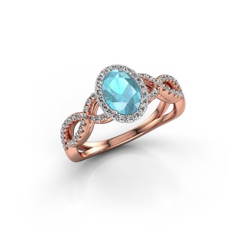 Engagement ring Dionne ovl 585 rose gold blue topaz 7x5 mm