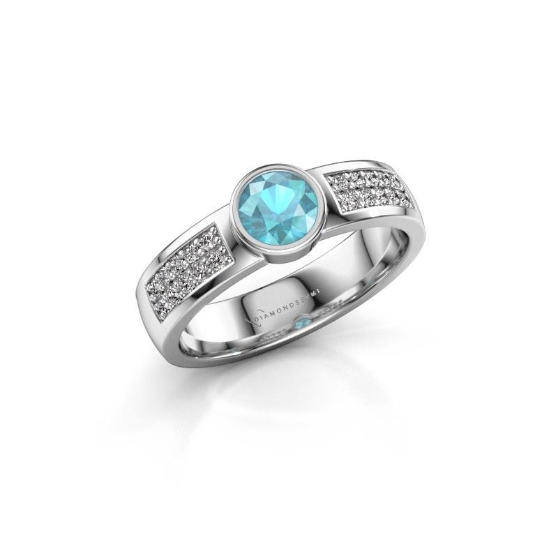 Engagement ring Ise 3 950 platinum blue topaz 4.7 mm