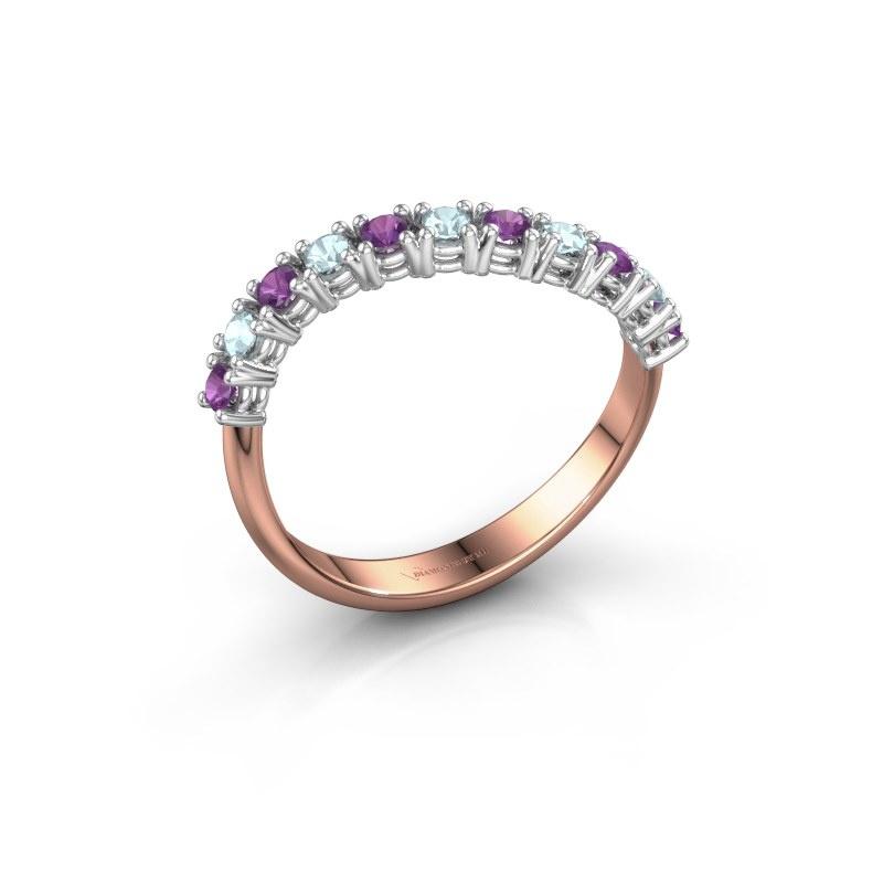Ring Eliza 585 rosé goud amethist 2 mm