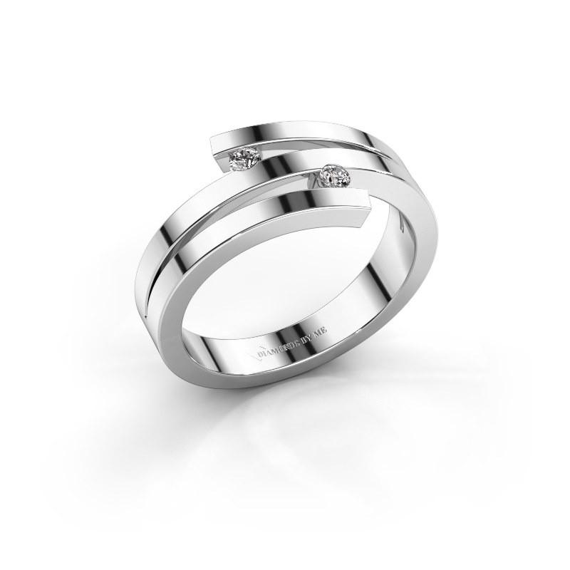 Ring Roxane 585 witgoud diamant 0.06 crt