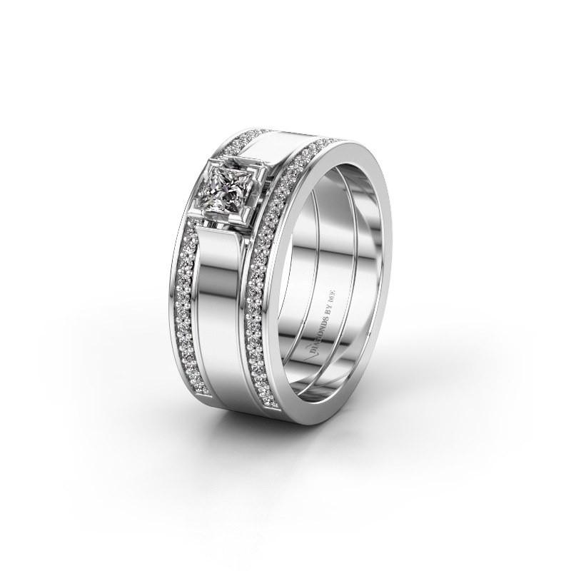 Trouwring WH2121L 925 zilver diamant ±8x1.7 mm