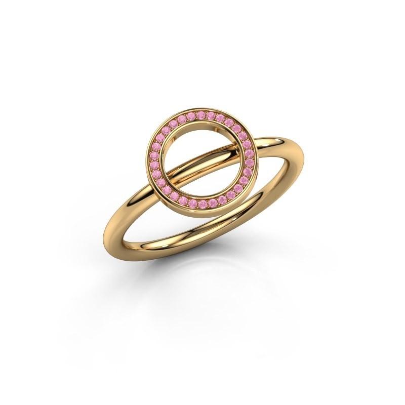 Ring Shape round large 585 goud roze saffier 0.8 mm