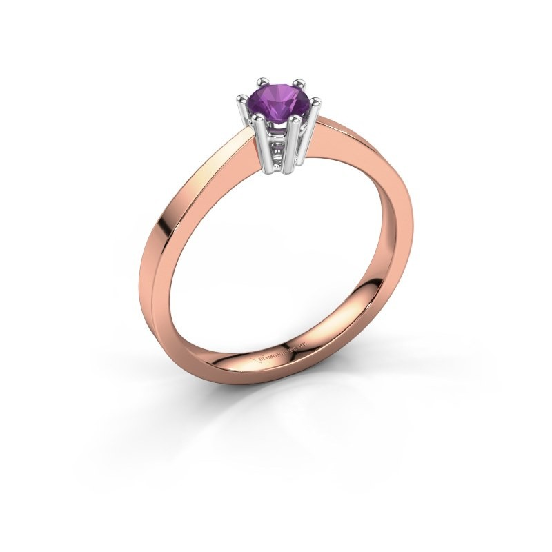 Engagement ring Noortje 585 rose gold amethyst 4 mm