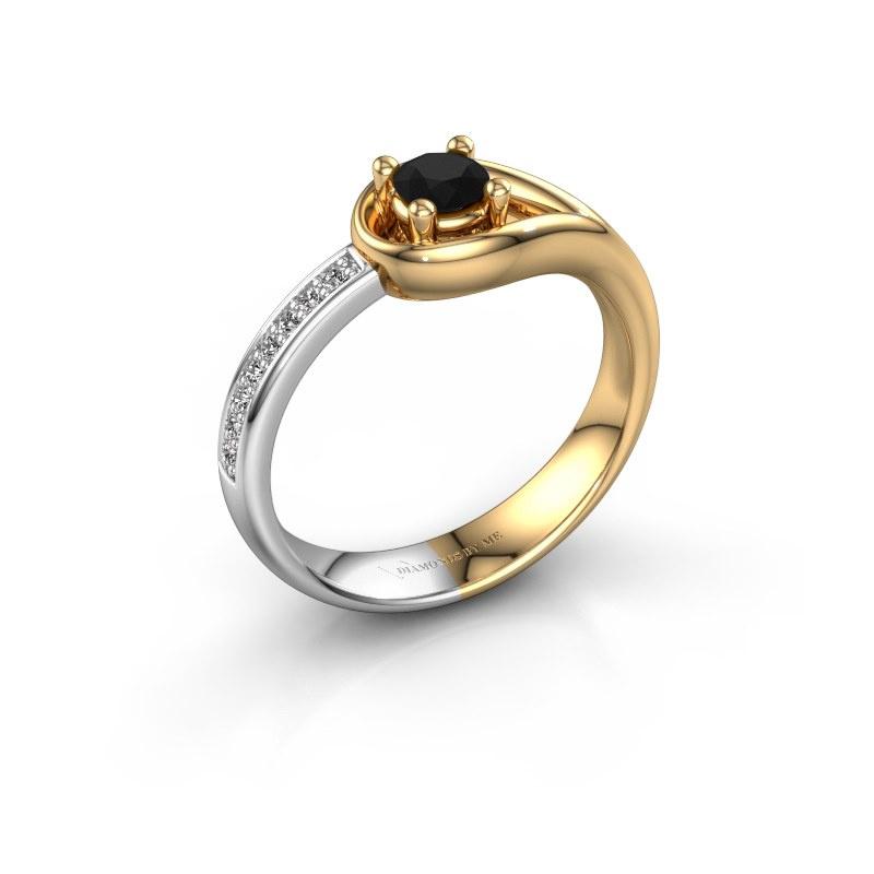 Ring Zara 585 goud zwarte diamant 0.36 crt