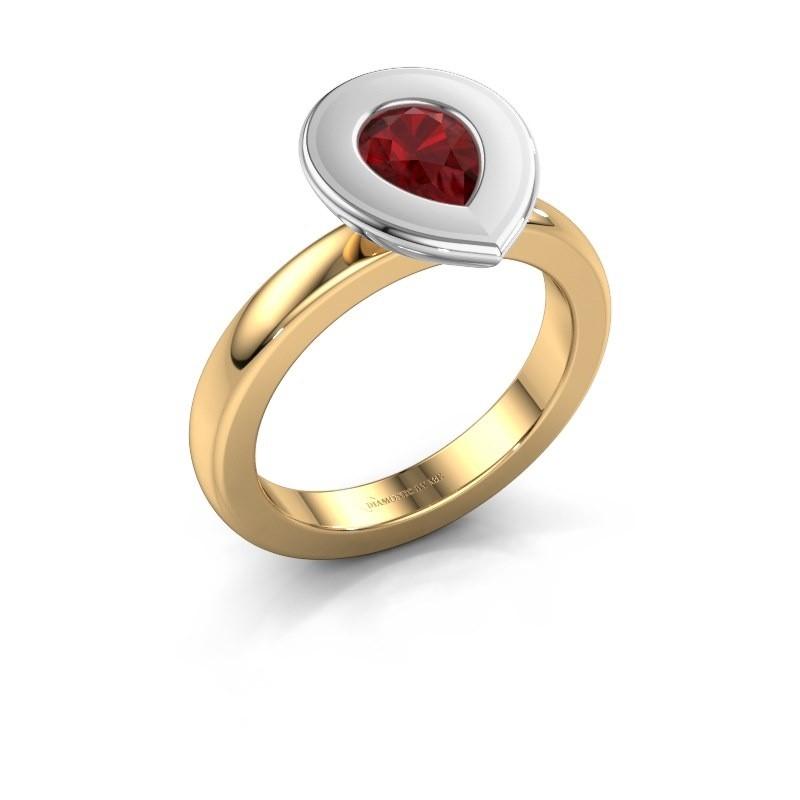 Stapelring Eloise Pear 585 goud robijn 7x5 mm